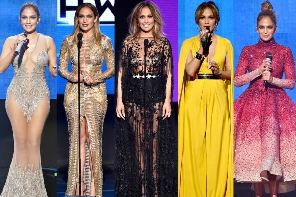 Jennifer Lopez, în ţinute spectaculoase la gala American Music Awards