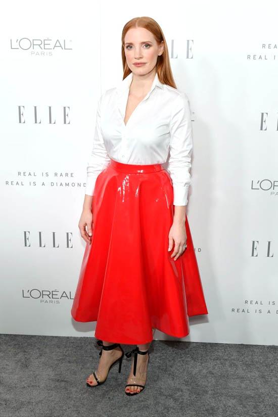 Jessica Chastain in Calvin Klein