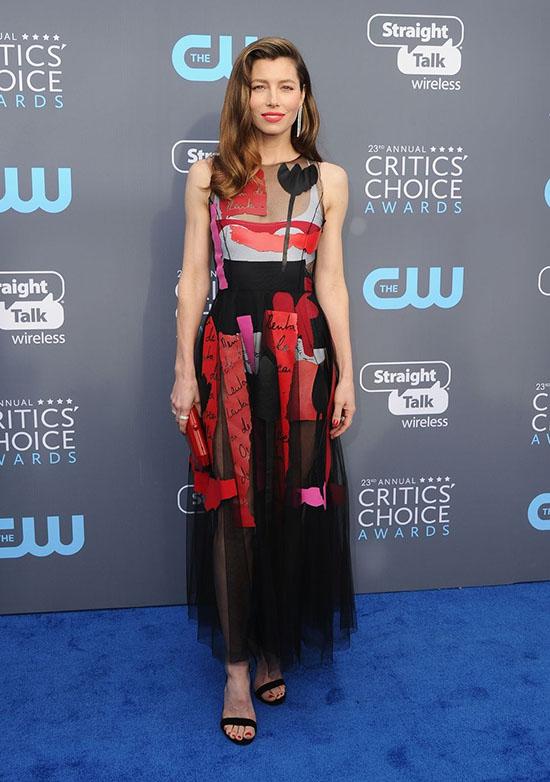 Jessica Biel rochie Oscar de la Renta