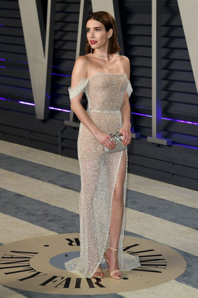 Emma Roberts (rochie Yanina Couture, Vanity Fair's Oscar After-Party)